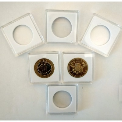 Square Coin Capsules Quadrum Capsules for £2 coin New and Old style White foam