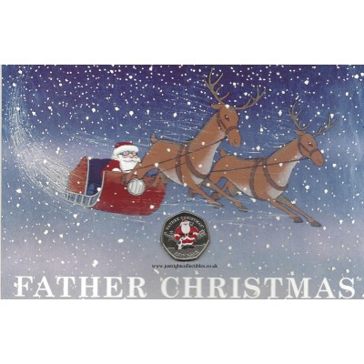 2019 Gibraltar Father Christmas 50p Coin in a Card Coloured DF