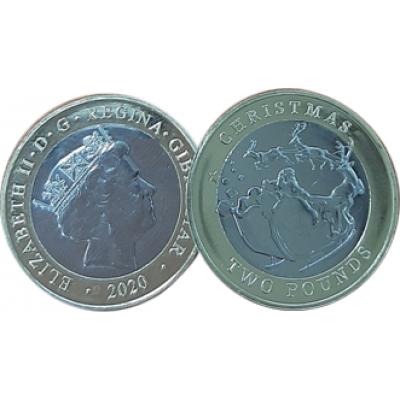 2020 Gibraltar £2 Two Pound Christmas coin