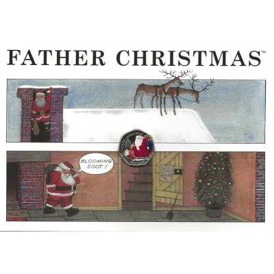 2020 Father Christmas 50p Coin in a Card - Coloured Cupro Nickel Diamond Finish BIOT
