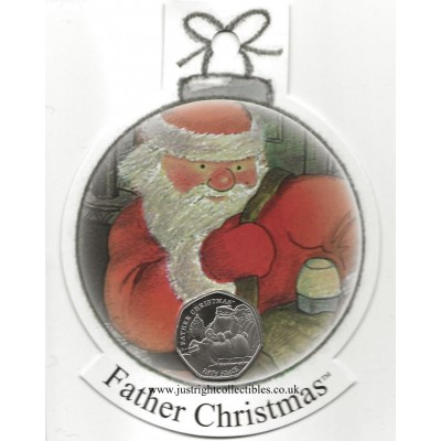 2020 Father Christmas 50p Coin in a decoration - Cupro Nickel Diamond Finish BIOT