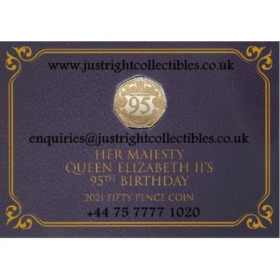 2021 Gibraltar Queen 95th Birthday 50p Coloured coin Pre Orde