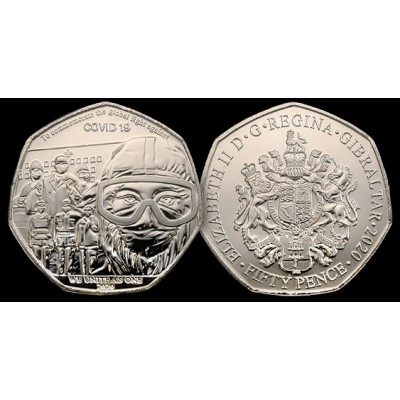 2020 Gibraltar COVID-19 50P Coin We Unite As One