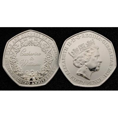2021 Gibraltar 50p coin Catherine & William 10th Wedding Anniversary