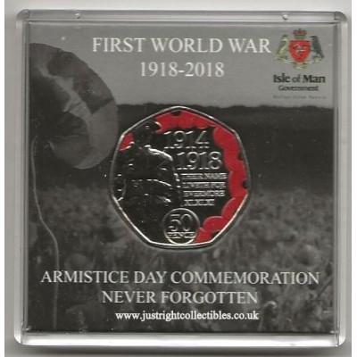 2018 ISLE OF MAN 50p Coloured Armistice Day Poppy Coin