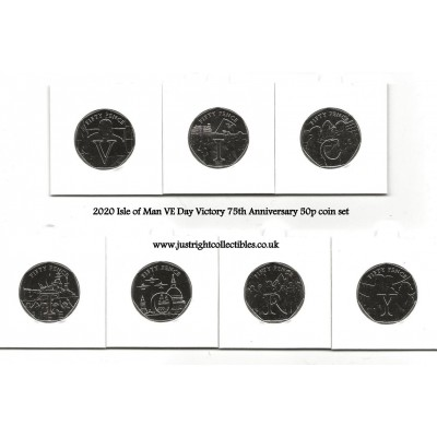 2020 Isle of Man VE Day Victory 75th Anniversary 50p coin set