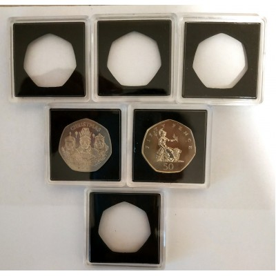 Square Coin Capsules Quadrum Capsules for Old style Large 50p coin New