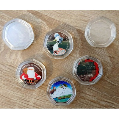 HEPTAGON ACRILYC COIN CAPSULES FOR 50 Pence