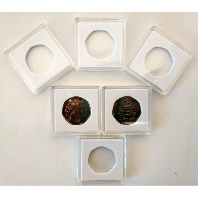 Square Coin Capsules Quadrum Capsules for 50p coin New White foam
