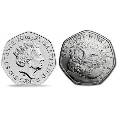 2016 Mrs. Tiggy-Winkle 50p Brilliant Uncirculated Coin