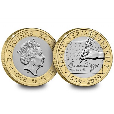 2019 Samuel Pepys' Diary Brilliant Uncirculated £2 Coin