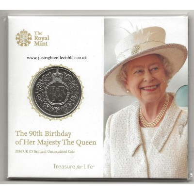 2016 Queens 90th Birthday £5 Five Pound Coin Brilliant Uncirculated