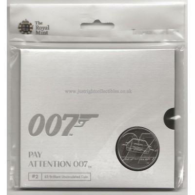 2020 James Bond UK £5 Coin Brilliant Uncirculated Pay Attention 007