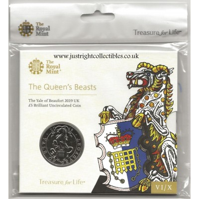 2019 The Queen's Beasts The Yale of Beaufort £5 Brilliant Uncirculated Coin