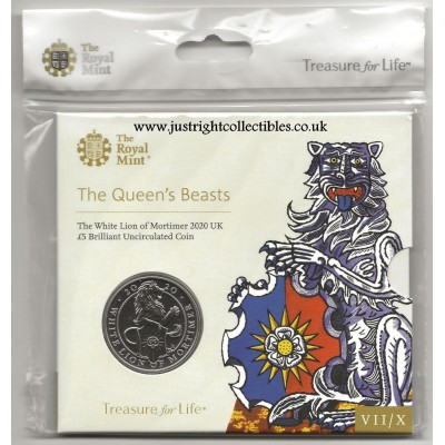 2020 The White Lion of Mortimer UK £5 Brilliant Uncirculated Coin