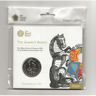 2020 The White Horse of Hanover UK £5 Brilliant Uncirculated Coin